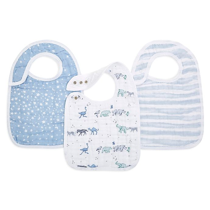 Alternate image 1 for aden + anais® 3-Pack Rising Star Classic Snap Bibs in Blue/White