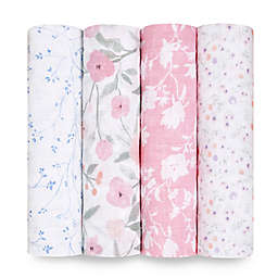 aden + anais™ Classic 4-Pack Mon Fleur Swaddle Blankets in Pink/White