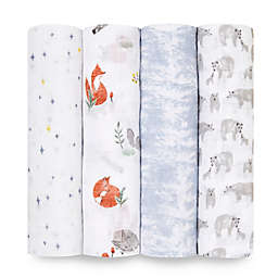 aden + anais™ Classic 4-Pack Naturally Swaddle Blankets in Grey/White