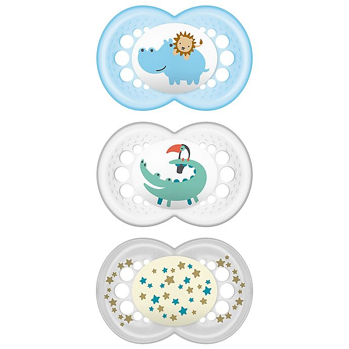 Alternate image 1 for MAM Day & Night 6-12M 3-Pack Pacifiers in Blue