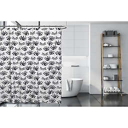 Moda 71-Inch x 71-Inch Winking Eye Shower Curtain in Black/White
