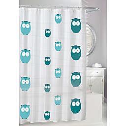 Moda 70-Inch x 72-Inch Bright Eyes Shower Curtain in White/Blue