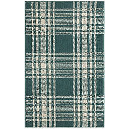Bee & Willow™ Home Plaid 2'6 x 3'9 Accent Rug in Teal/Cream