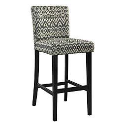 Ikat Upholstered Wooden Bar Stool in Black/White