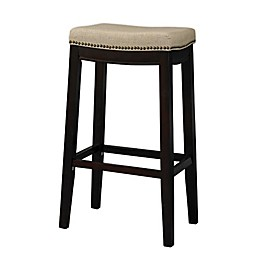 Wooden Faux Leather Upholstered Bar Stool in Brown/Beige