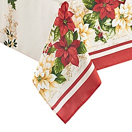 Elrene Home Fashions Red and White Poinsettias Table Linen Collection