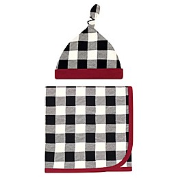 Touched by Nature® 2-Piece Plaid Organic Cotton Swaddle Blanket and Cap Set in Black
