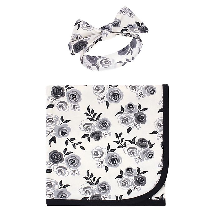 Alternate image 1 for Touched by Nature® 2-Piece Roses Organic Cotton Swaddle Blanket and Headband Set in Black