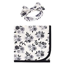 Touched by Nature® 2-Piece Roses Organic Cotton Swaddle Blanket and Headband Set in Black