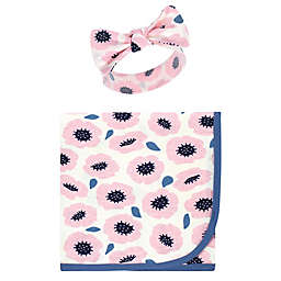 Touched by Nature® 2-Piece Blossom Organic Cotton Swaddle Blanket and Headband Set in Pink/Blue