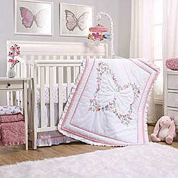 The Peanutshell™ Butterfly Whisper Crib Bedding Collection in Pink/White