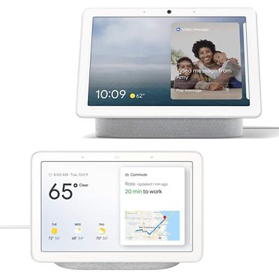 Google Nest Hub Max in Chalf + Nest Hub in Chalk Smart Google Assistant Bundle | HMX CHLK+HUB CHLK