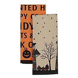 Haunted House Halloween Kitchen Towels in Orange (Set of 2)