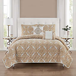 Distressed Medallion 5-Piece Queen Quilt Set in Rust