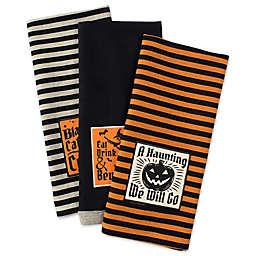 "DII® ""Happy Haunting"" Halloween Kitchen Towels in Black (Set of 3)"