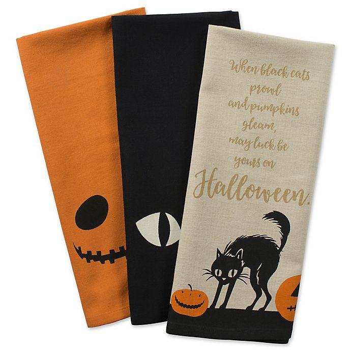 Alternate image 1 for DII® Jack-O-Lantern Kitchen Towels in Black (Set of 3)