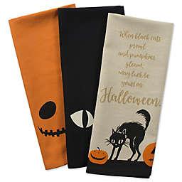 DII® Jack-O-Lantern Kitchen Towels in Black (Set of 3)
