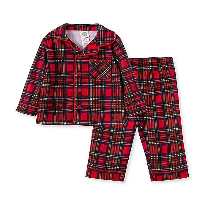 Alternate image 1 for Little Me® 2-Piece Plaid Coat Pajamas Set