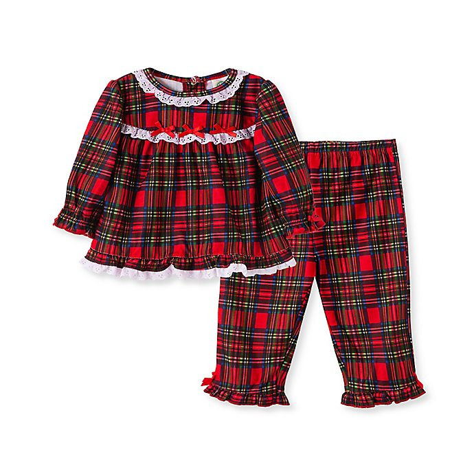 Alternate image 1 for Little Me® 2-Piece Girl's Plaid Pajamas Set