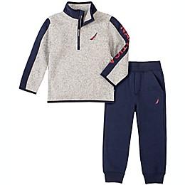 Nautica® 2-Piece Half-Zip Sweater and Pant Set in Grey/Navy