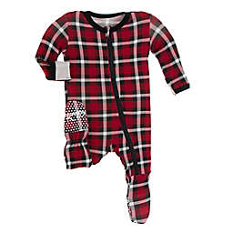 KicKee Pants® Newborn Christmas Plaid Footie Pajama in Red