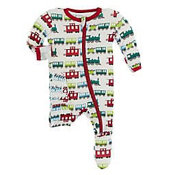 KicKee Pants® Size 0-3M Christmas Trains Footie Pajama in White