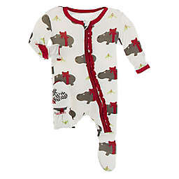 KicKee Pants® Size 0-3M Christmas Hippo Bow Footie Pajama in White