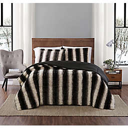 Snow Leopard Faux Fur 3-Piece Full/Queen Comforter Set in Grey