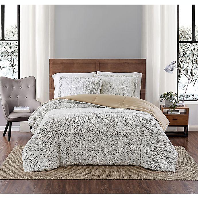 Alternate image 1 for Carved Faux Fur 3-Piece Comforter Set