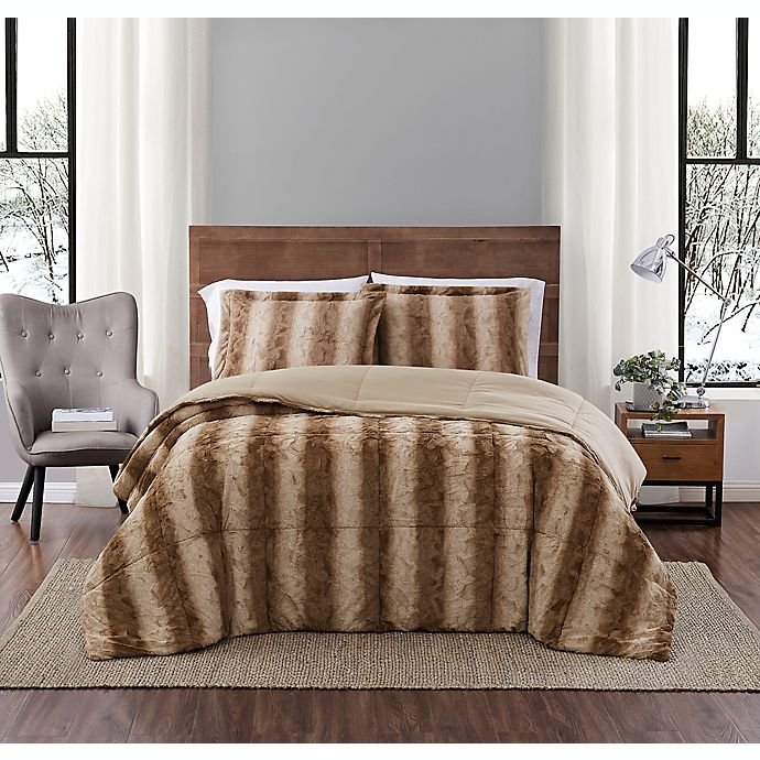 Alternate image 1 for Snow Leopard Faux Fur 3-Piece Full/Queen Comforter Set in Taupe