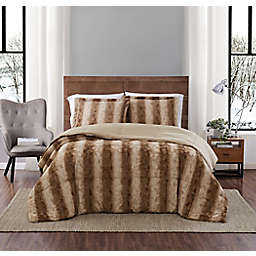 Snow Leopard Faux Fur 3-Piece Full/Queen Comforter Set in Taupe