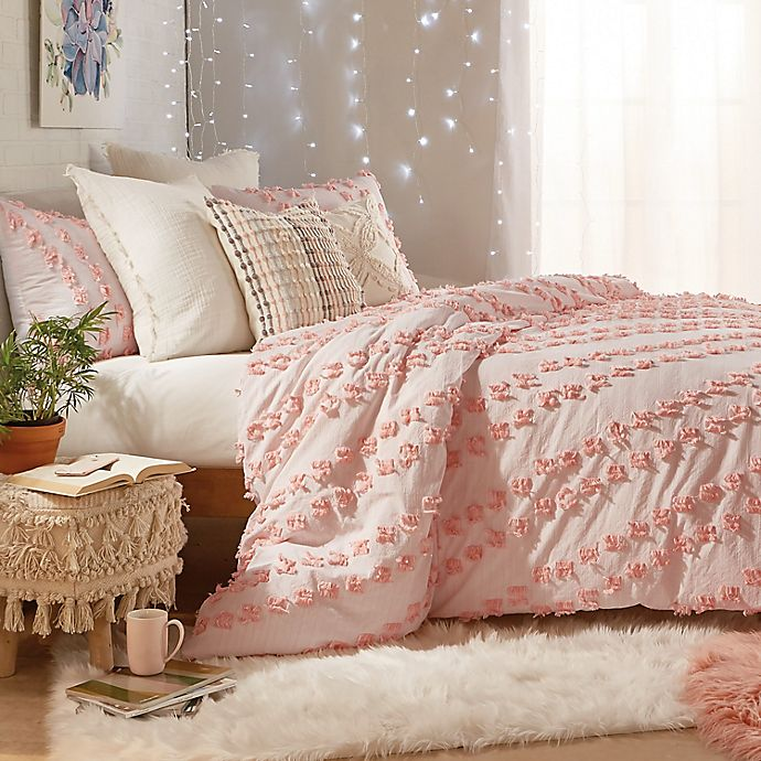 Alternate image 1 for Peri Home Space-Dyed Fringe 2-Piece Twin XL Comforter Set in Blush