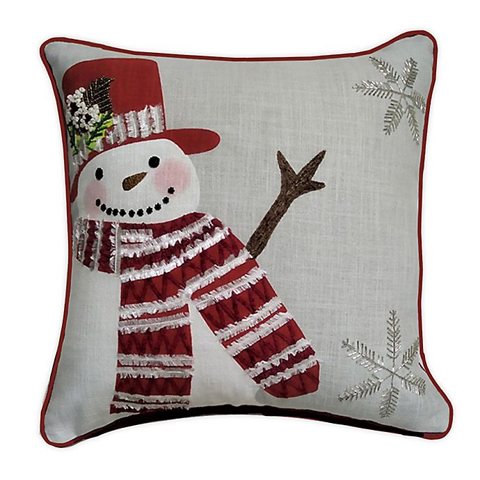 Alternate image 1 for Winter Wonderland Snow Man Square Throw Pillow in Grey/Red