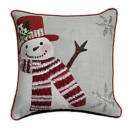 Winter Wonderland Snow Man Square Throw Pillow in Grey/Red