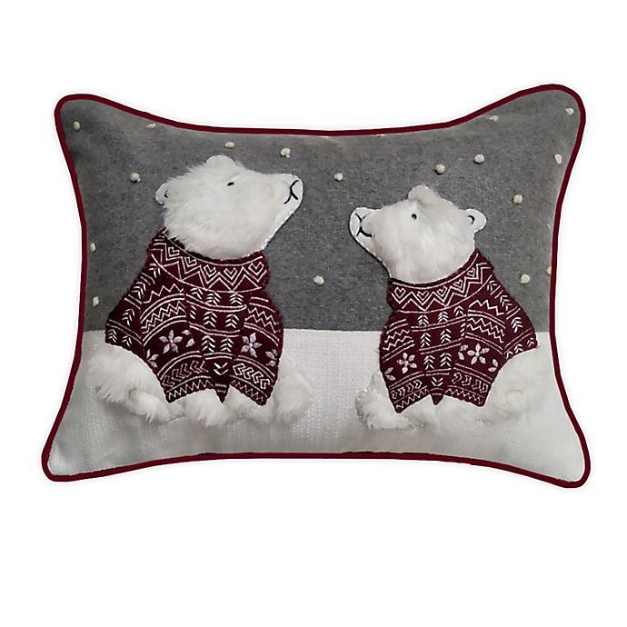Alternate image 1 for Winter Wonderland Polar Bears Rectangle Throw Pillow in Grey/Red