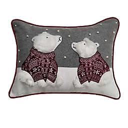 Winter Wonderland Polar Bears Rectangle Throw Pillow in Grey/Red
