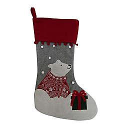 24-Inch Felt Polar Bear Stocking in Red/Grey
