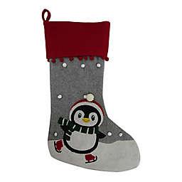 24-Inch Felt Penguin Christmas Stocking in Red/Grey
