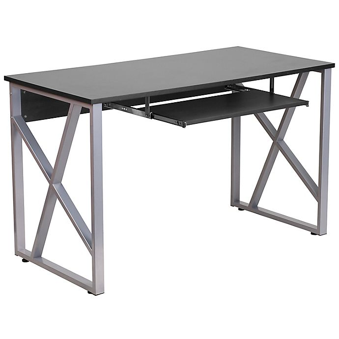 Alternate image 1 for Flash Furniture Black Computer Desk with Pull-Out Keyboard Tray