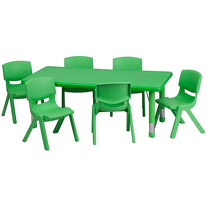 Alternate image 1 for Flash Furniture Rectangular Activity Table with 6 Stack Chairs in Green