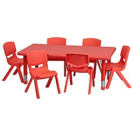 Flash Furniture Rectangular Activity Table with 6 Stack Chairs in Red