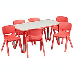 Flash Furniture Rectangular Activity Table with 6 Stackable Chairs in Red/Grey