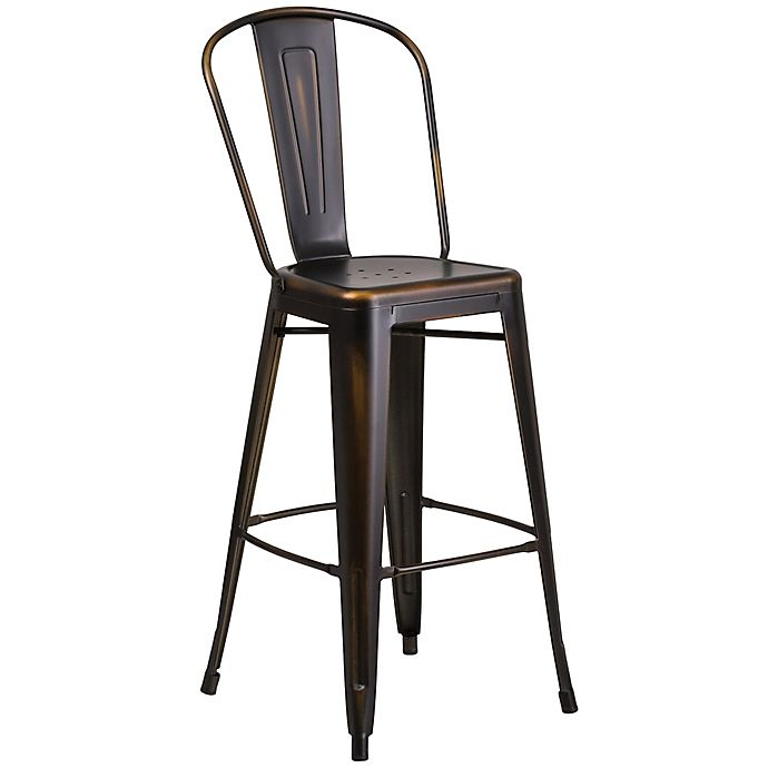 Alternate image 1 for Flash Furniture Distressed Metal Indoor/Outdoor Counter Stool with Back