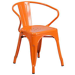 Flash Furniture Metal Chair with Arms in Orange