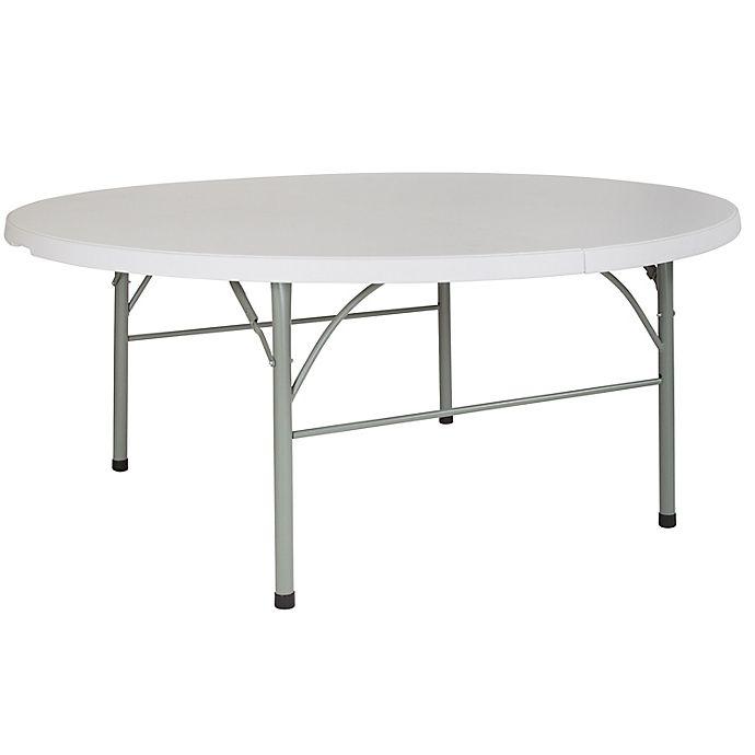 Alternate image 1 for Flash Furniture Bi-Fold Round Plastic Folding Table in White