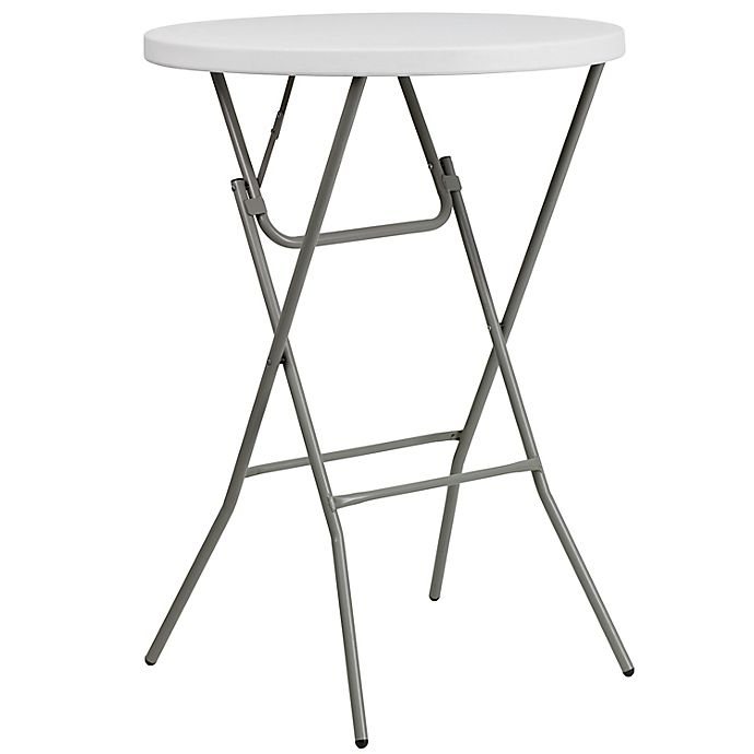 Flash Furniture 32 Inch Round Bar Height Folding Table In White Bed Bath Beyond