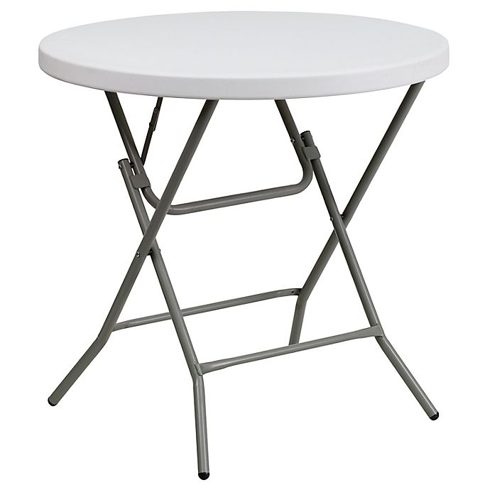 Alternate image 1 for Flash Furniture 32-Inch Round Folding Table in Granite White