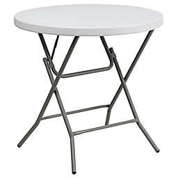 Flash Furniture 32-Inch Round Folding Table in Granite White