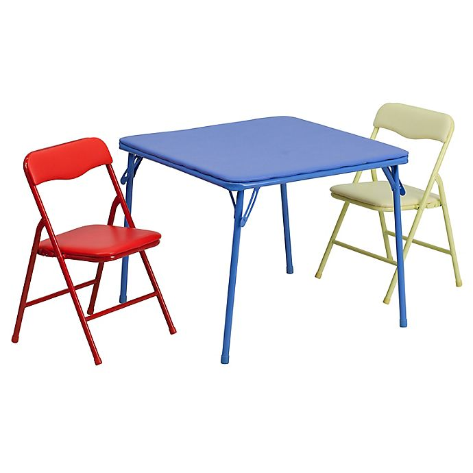Alternate image 1 for Flash Furniture Kids Colorful 3-Piece Folding Table and Chair Set