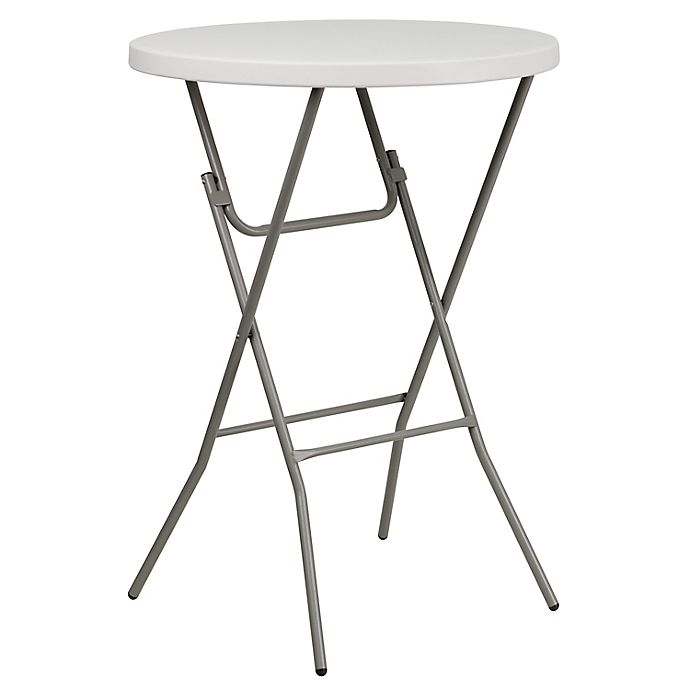 Alternate image 1 for Flash Furniture 32-Inch Round Bar Height Folding Table in White